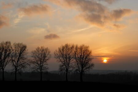 Sunset in winter Standard-Bild