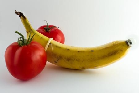 A condom over a banana symbolizes safe sex