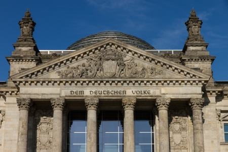 The dome was constructed by Sir Norman Foster, the entrance shows the inscription  Dem Deutschen Volke    Dedicated to the German people    photo