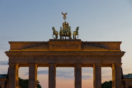 Upper part of Berlin s most famous sight, the Brandenburg Gate Standard-Bild