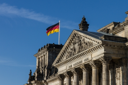 Famous inscription over the entrance of the Reichstag, the seat of Germany photo