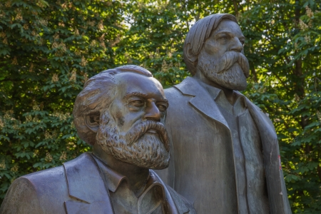 thinkers: Communist thinkers Karl Marx and Friedrich Engels as sculptures in Berlin-Mitte Stock Photo