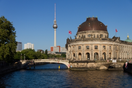 east berlin: View to the Museum Island with its Bodemuseum in Berlin Stock Photo
