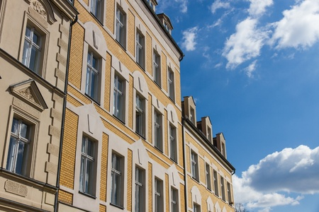Front facade of several buildings in the historical old town of Berlin-Koepenick, Germany Editorial