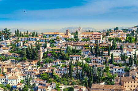 View of the historical arabic town Albicin in Granada Spain