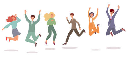 Happy people jumping in air - cartoon set of men and women mid jump