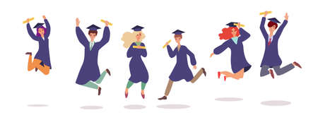 Cartoon students in graduation cap and gown jumping in air - isolated set