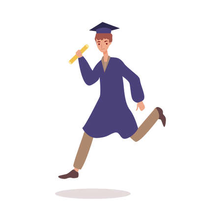 Male cartoon university graduate jumping in air - happy young man in graduation cap Illustration