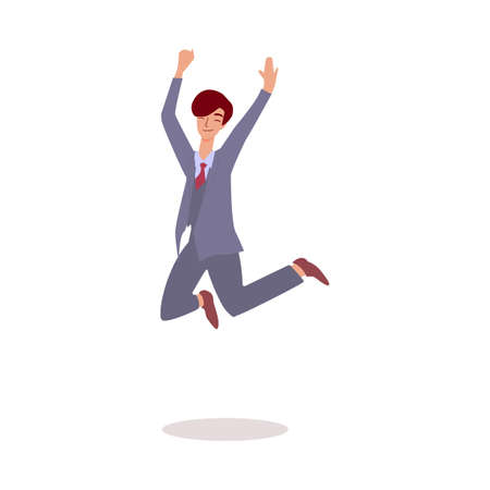 Happy businessman jumping in air - adult cartoon man in business suit