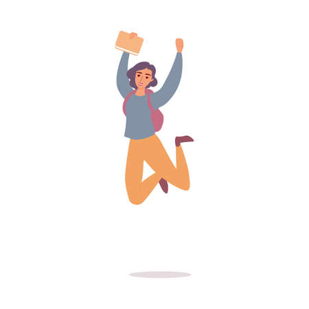 Happy cartoon girl jumping in air - cheerful young woman holding a book