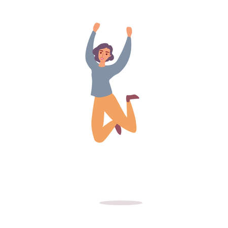 Happy cheerful woman jumping high, flat cartoon vector illustration isolated.
