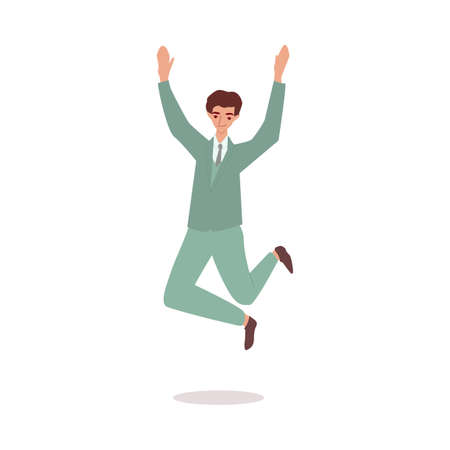 Happy lucky businessman in suit jumping, cartoon vector illustration isolated.