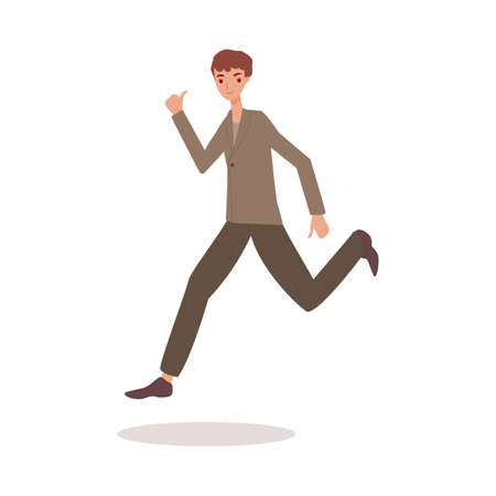 Happy man jumping in air with thumbs up - adult cartoon character