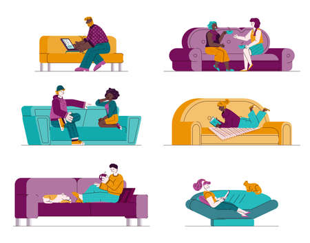 Set of people sitting on sofa and communicating vector illustration isolated. Vector Illustration