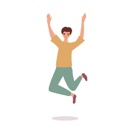Cheerful man jumping high in the air, flat cartoon vector illustration isolated.