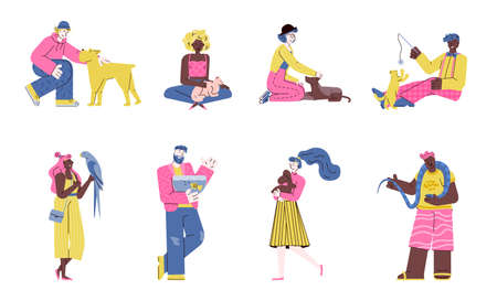 Cartoon people holding pet animals - isolated set of men and women with pets