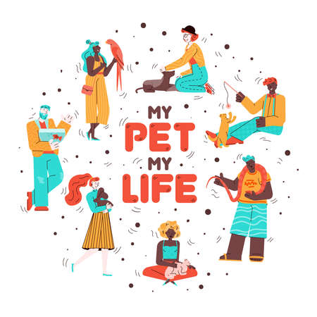 My pet my life - cartoon poster with people holding animals