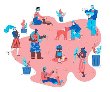 Pet owner people in outdoor park - flat cartoon poster