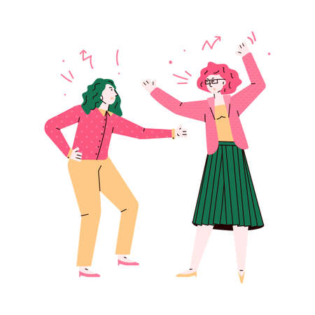 Furious women fighting and quarrelling sketch vector illustration isolated. Vettoriali