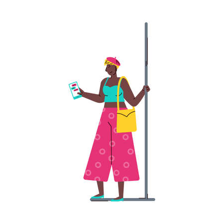 African american woman with phone in subway train vector illustration isolated.