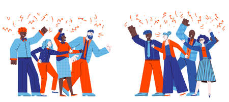 Groups of conflicting people quarrelling sketch vector illustration isolated. Vettoriali