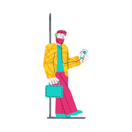 Subway passenger man in train car sketch doodle vector illustration isolated.