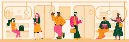 Subway background with people on way to home or work, flat vector illustration. Illusztráció