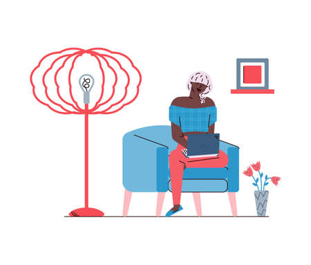 Woman chatting or working remotely home sketch vector illustration isolated.