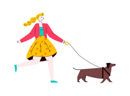 Cartoon woman and brown dog on a walk isolated on white background 矢量图像