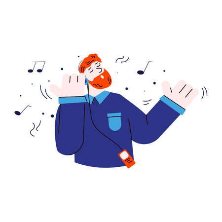 Happy ginger man listening to music on headphones with closed eyes Vettoriali