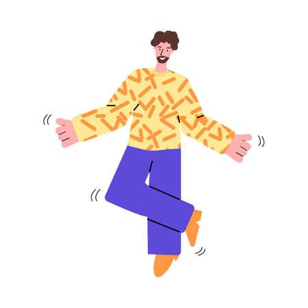 Joyful bearded man dances listening music, sketch vector illustration isolated. 일러스트