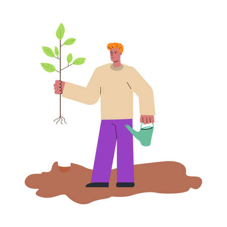 Man cartoon character planting tree sketch vector illustration isolated on white.