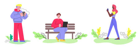 People with devices - phone, tablet and laptop vector illustration isolated. Illustration