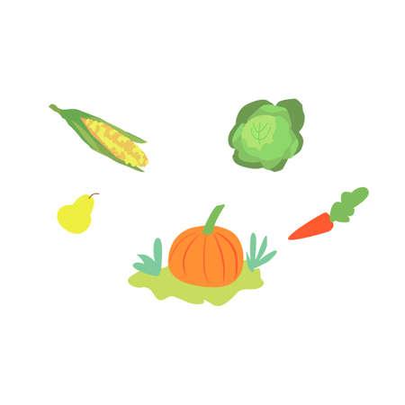 Set of vegetables icons or symbols flat cartoon vector illustration isolated. Ilustração