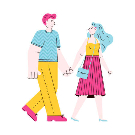 Cute cartoon couple walking while holding hands - isolated vector illustration