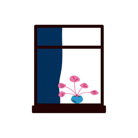 Window frame with curtains and indoor plant sketch vector illustration isolated.