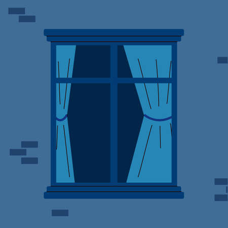 Brick house wall fragment with closed wooden window frame, flat cartoon vector illustration. Window shut casement with blue curtains on building facade background.