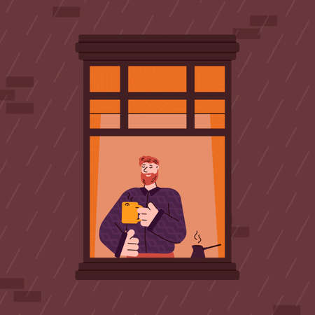 Cartoon character of man looking out of window, flat vector illustration. Bearded guy resting at house apartments with cup of coffee or tea near open window casements.