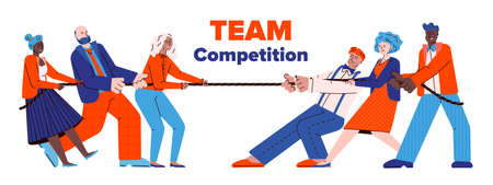 Two teams of people cartoon characters pulling rope, flat vector illustration isolated on white background. Tug of war competition as business competitive metaphor.
