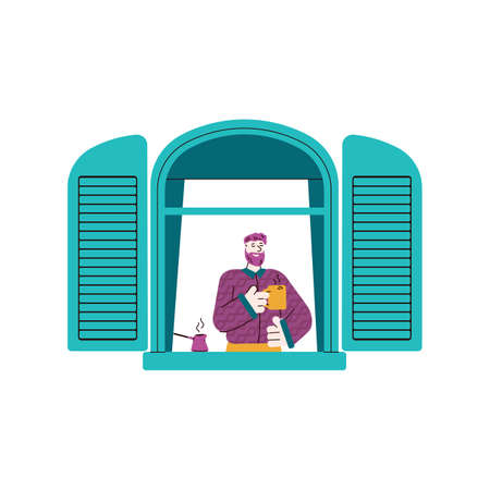 Cartoon man in window with open shutters drinking coffee and smiling - happy neighbor seen from outside in window frame holding a cup. Flat isolated vector illustration. Ilustração