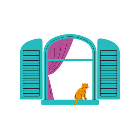 Retro open house window frame with cat resting on windowsill, cartoon vector illustration isolated on white background. Building exterior and domestic life.
