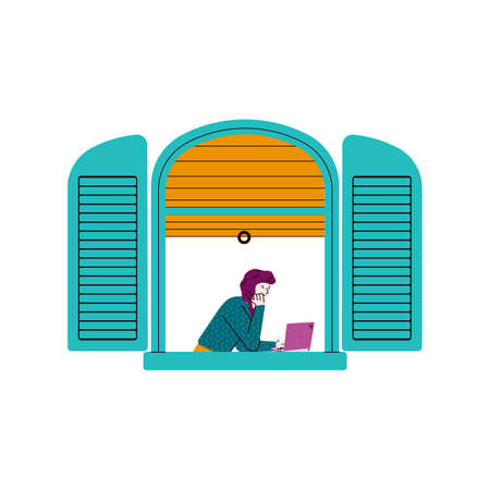 Cartoon girl with laptop in open blue window frame seen from outside view - young woman looking at computer screen with lowered blinds. Flat isolated vector illustration. Ilustracja