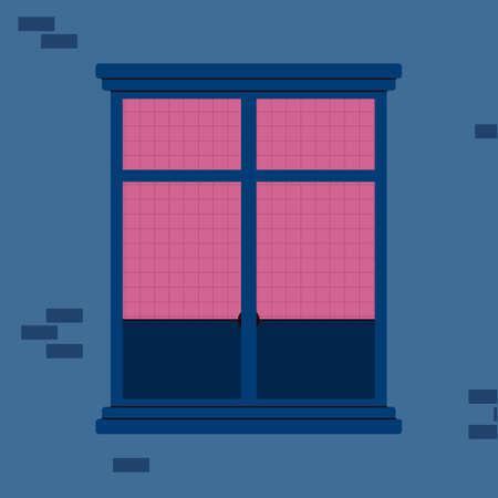 Window frame with jalousie on brick house wall cartoon vector illustration.