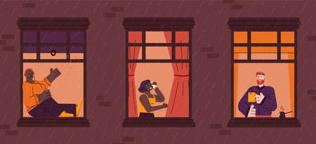 Windows with neighbors people cartoon characters daily life in their apartments - drinking tea, talking on the phone and resting, colorful flat vector illustration.