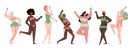 Female body positivity set - diverse group of women from skinny to plus size dancing in swimsuits and underwear. Happy cartoon girls - flat isolated vector illustration.