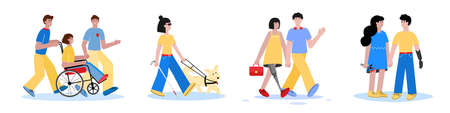 Disabled people with friends - cartoon men and women in wheelchair, blind or with prosthetic leg or artificial arm having fun friendships. Flat isolated vector illustration.