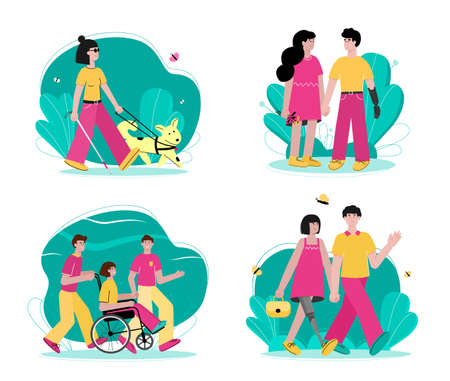 Set of handicapped women and men in wheelchair and with prosthesis, flat cartoon vector illustration isolated on white background. Day of people with disability concept.