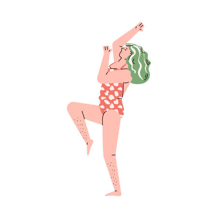 Body positive woman cartoon character with unshaven legs without depilation, sketch vector illustration isolated on white background. Breaking beauty standards concept.