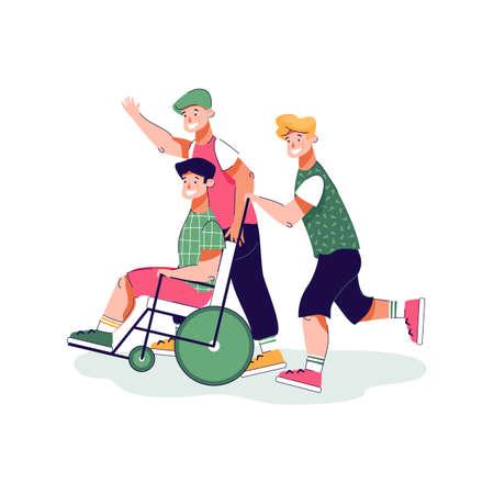 Cartoon boy in wheelchair having fun with friends - disabled teenager Illusztráció