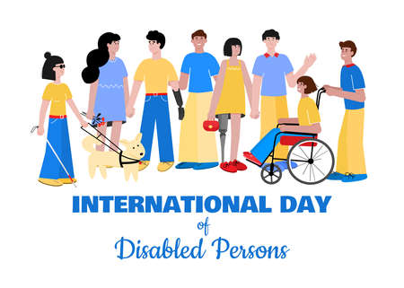 International day of disabled people banner flat vector illustration isolated.